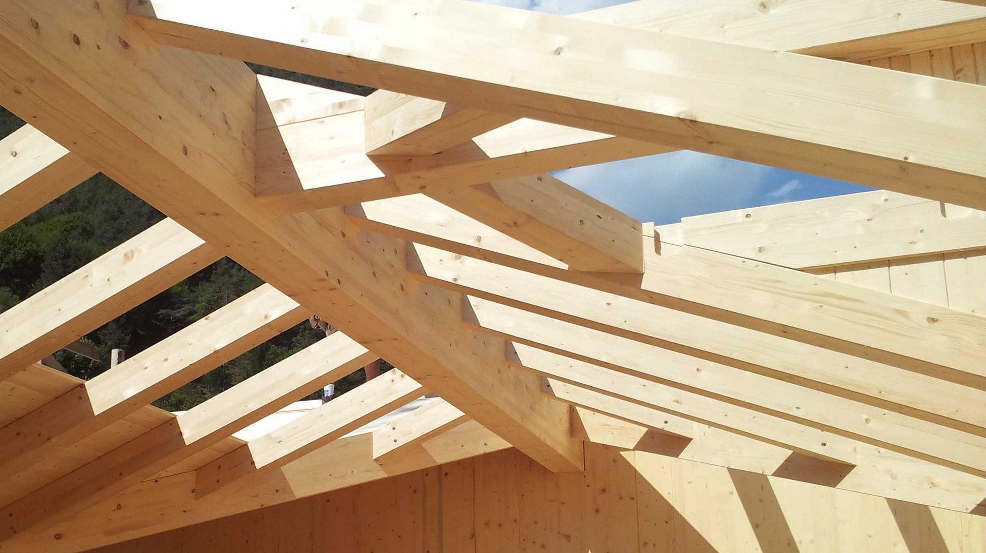 la struttura in legno del tetto