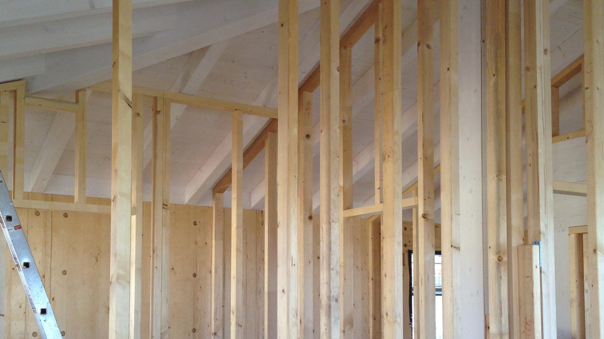 le pareti interne con struttura in legno